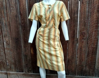 Vintage 50's Day House Dress Cotton Yellow Green Striped Zip Pockets 14 16 Plus