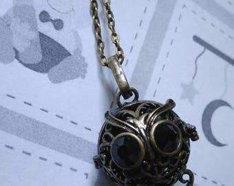 Sautoir bola de grossesse bronze cage ronde hibou avec petites perles vertes kakis - cadeau grossesse, cadeau femme enceinte hiboux