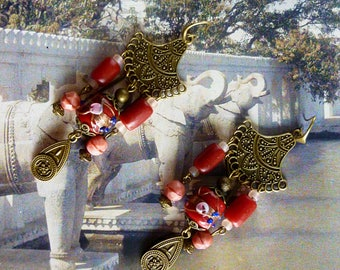 "Pierced ear ethnic ""Bangalore"" Murano style beads, handmade glass red, pink Czech glass beads, metal bronze"