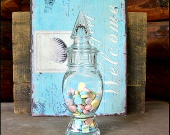 Vintage Apothecary Candy Jar / Wedding Candy Bar / Clear Glass / Penny Candy Display / Candy Buffet / Princess Birthday Party