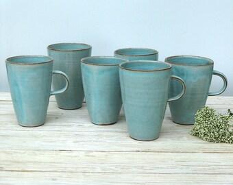 Turquoise Coffee Mug, Large Coffee Mug, Tall Coffee mug, Large Tea Mug, Large Tea Cup, Pottery Mug, Handmade Coffee Mug, Ceramic Coffee Mug