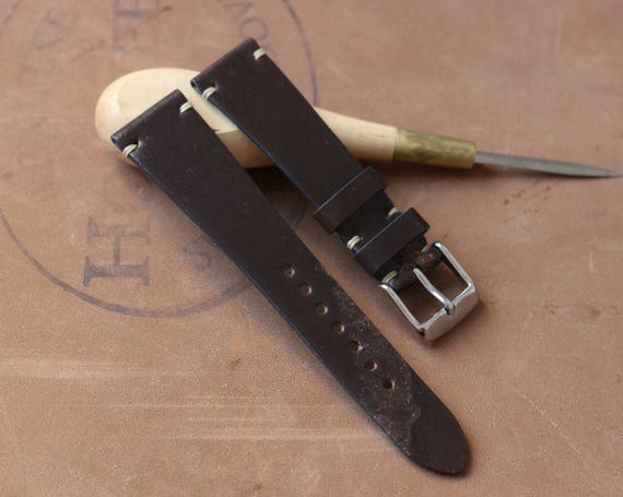20/16mm Dark Brown Horween Shell Cordovan watch band - simple side stitch