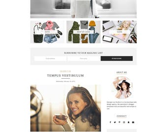 "Premade Blogger Template - Responsive Blog Theme - Customizable - Clean & Minimal - ""Phoebe"" - blog design, blogger theme, blog template"