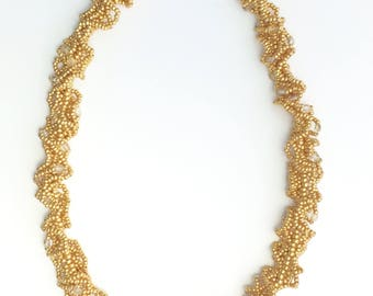 Gold Seed beads and Crystals ruffled necklace