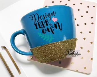 custom blue mug glitter mug custom coffee mug coffee mug design