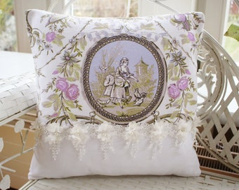 Pillow cover toile de Jouy, country house style