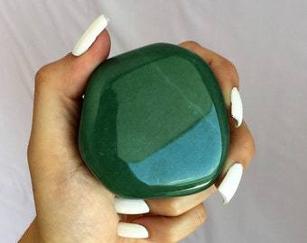 Green Aventurine Palm Stone infused w/ Reiki Perfect Heart Chakra Stone