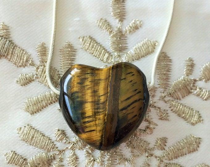 Tigers Eye HEART Necklace infused w/ Reiki / Healing Jewelry