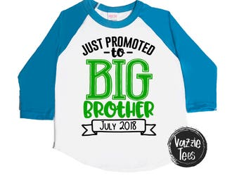 SALE - Just Promoted to Big Brother - Personalized Announcement Shirt - Big Bro - Holiday Gifts - Kids' Shirts