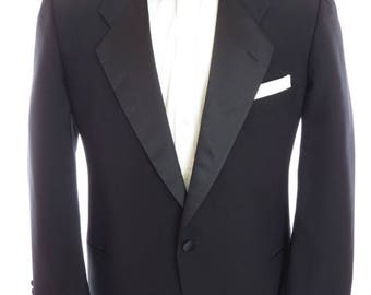 Size 44R - Mani by Giorgio Armani vintage black one-button notch lapel tuxedo jacket