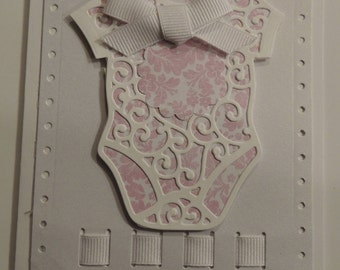 Handmade Hand Stamped Baby Onesie Card