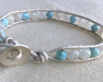 Larimar and Moonstone White Pearl leather wrap bracelet