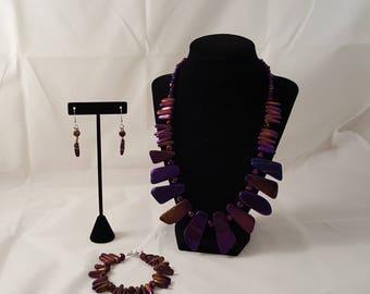 Metallic Purple Stone Jewelry Set - Iridescent Purple Jewelry Set - Stone Necklace - Purple Necklace - Purple Earrings - Purple Bracelet