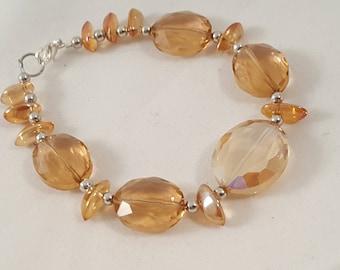 Orange Crystal Glass Bead Bracelet - Orange Bracelet - Crystal Bracelet - Beaded Bracelet - Orange Crystal - Orange Jewelry -Orange -Crystal