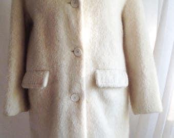 50's vintage white mohair women's coat