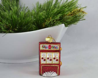 Vintage Kurt Adler Christmas Ornament, Red Slot Machine Ornament With Gold Glitter Accents