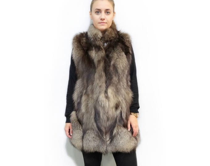 Long Fur Vest,Real Fur Fox Vest  F188