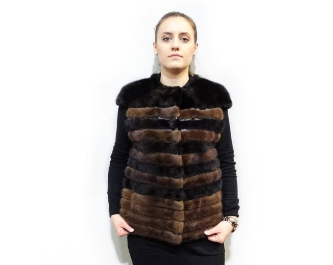 Real Mink Fur Vest and Leather Stripes, Brown - Black Fur Vest F393