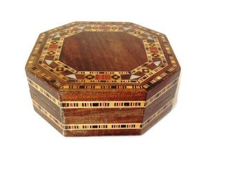 vintage wooden inlaid box, marquetry box, jewelry box, trinket box