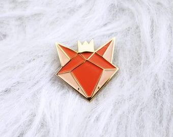 Pin's renard - pin's émaillé renard - broche - pins - pin's métal émail et or - doré - accessoire et cadeau femme - mode enfant