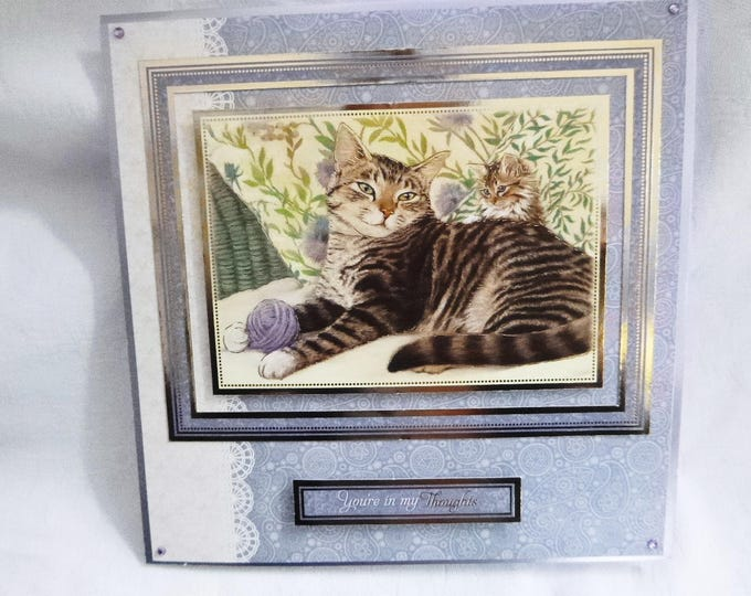 Cat Birthday Greeting Card, Tabby Cat, Striped Cat and Kitten, Lilac and White, Female