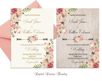 Blush Pink Wedding Invitation Printable Boho Wedding Invitation Romantic Floral Wedding Rustic Wedding Gold Wedding Invitation Elegant