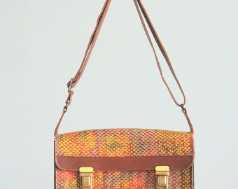 Leather handprinted up-cycle shoulderbag