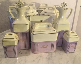 Vintage Antique J. B & W Porcelain Twenty Two (22) Pieces Storage Canister Set. Lavender And Cream Color. Made In Germany.