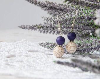 Purple dangle earrings, Purple earrings for girl, Stone earrings, Lavender earrings, Violet earrings, Purple earings, Lilac howlite earrings