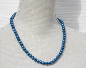 Navy Blue Pearl Necklace - Glass Pearl Jewelry - Navy Blue Necklace - Navy Blue Jewelry - Bridesmaid Jewelry - Wedding Jewelry