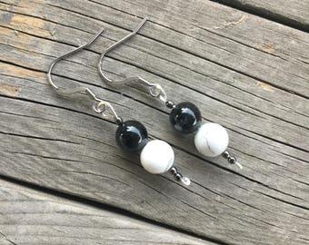 Black tourmaline earrings, White howlite earrings, stainless steel hook,surgical steel hooks