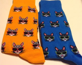 Art Socks,Funny Cool Cat Socks,Fun Socks, Cat Wearing Sunglasses, Socks for Boys and Men,Teachers,Gift,Art Socks,Unique Gift,Birthday Gift