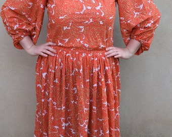 Vintage bright orange paisley midi day dress, 1970s