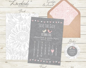 100 Personalised Wedding Save the Date Invitations | Save the Date Invites | Wedding Invitation | Vintage Wedding Invites | Shabby Chic