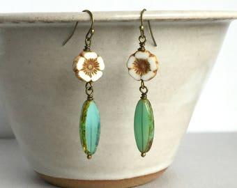 Beach Blossom Earrings, Flower Dangle Earrings, Czech Glass Flower Earrings, Aqua Czech Glass Earrings, Summer Jewelry