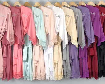 Bridesmaid Robes Set Satin Lace Matching Trim Personalize Wedding Bridal Shower Party Gift Bride Monogram Getting Ready 1 2 3 4 5 6 7 8 9 10