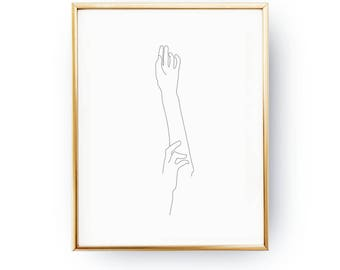 Woman Forearms Print, Minimalist Silhouette, Sketch Art, Female Body, Black And White, Linear Drawing, Woman Art, Minimal Art, Female Poster