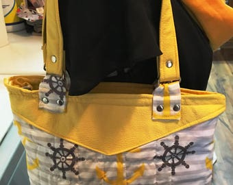 Yellow leather with Anchors handbag, Sea ship handbag, leather Yellow purse, Small handbag,  handbag, Anchor purse, leather bag