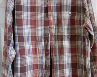 Vintage Mens CAJUN Sportiv Checked Thick Flannel Shirt Size 44