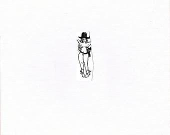 "Nudle (Portmanteau of Nude + Doodle) #42 ""Cowgirl"" [0.6x1.5"" on 5x7"" stock]"