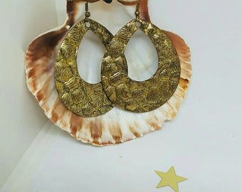 Earrings in bronze and gold glitter