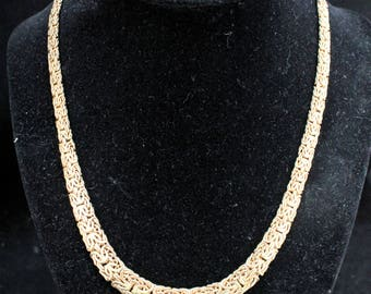 """Estate Heavy 14K Yellow Gold 18"""" Intricate Byzantine Chain Necklace 20.45 Grams Christmas"""