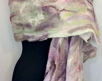 Felted Scarf, Nuno Wrap, Silk Felt Wrap, Felted Shawl, Wedding Wrap, Bridal Wrap, Lavender & White, Vintage Style Wrap, GracefulEweFiberArts