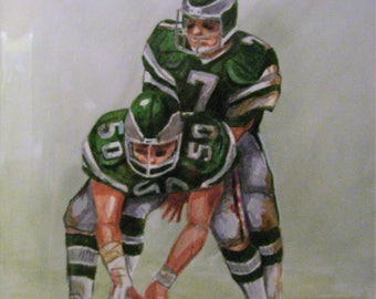 Ron Jaworski, Eagles QB 16x20 Original Watercolor Painting,One of a Kind,Not a Print