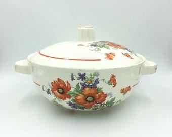 Soup Tureen. French Transferware. Floral Decor. Small Serving Dish. Antique Tureen. Serving Bowl. Soupière. Légumier. French Vintage. 50s