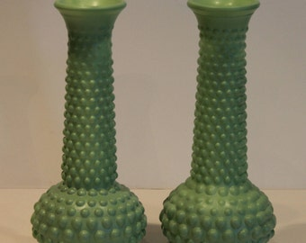 Vintage Milk Glass Bud Vases - Set of 2 Hobnail Vases - Jadeite Green Hobnail Vases
