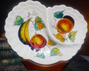 Vintage (1970s | 1980s) hand-painted, divided salsa | nacho serving bowl. Made in Italy, numbered 834. Stylized fruit imagery, shell edge.