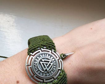 Valknut Bracelet - Spike - Viking - Heritage - Roots - Yggdrasil - Tribal - Boho - Gypsy - Travel - North - Odin - Cosplay - Rune - Forest