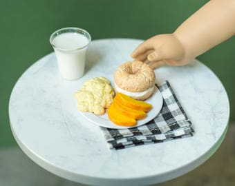 Bagel Breakfast Set - Eggs - Slices Peaches - Bagel - Handmade Polymer Clay Food for 18 Inch Dolls