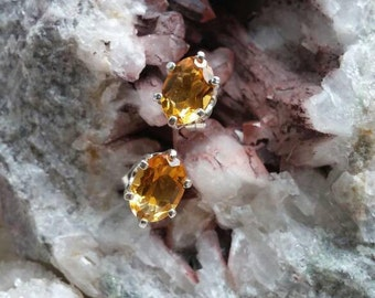 Citrine earrings 6 prong solid sterling silver .925 SS studs oval faceted push backs included free shipping